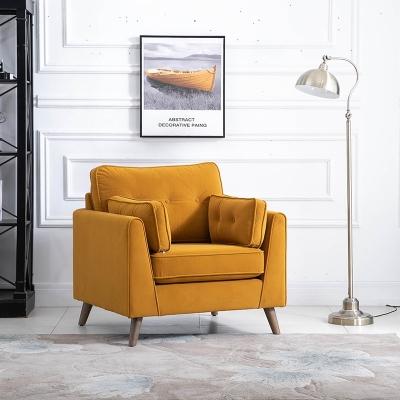 Zurich Ochre Velvet Fabric Armchair