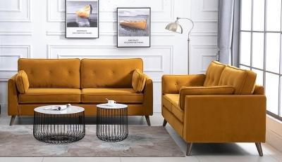 Zurich Ochre Velvet Fabric Sofa Suite