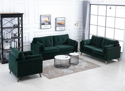 Zurich Green Velvet Fabric 3+2+1 Seater Sofa Suite