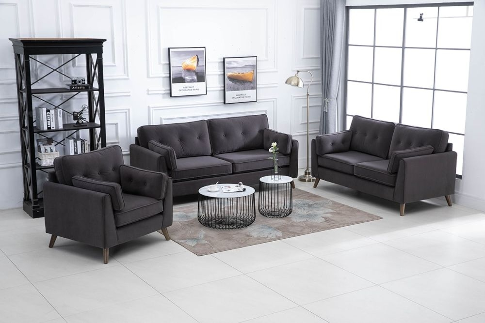Zurich Elephant Grey Velvet Fabric 3+2+1 Seater Sofa Suite