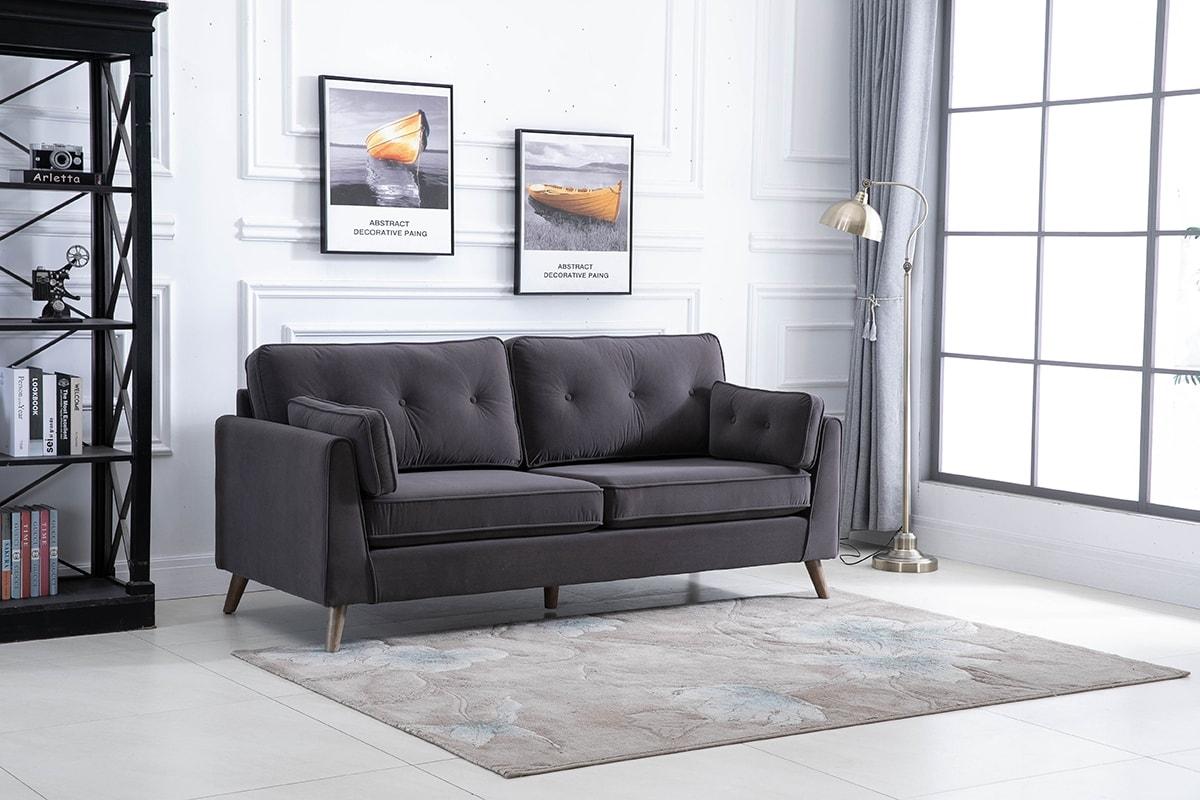 Zurich Elephant Grey Velvet Fabric 3 Seater Sofa