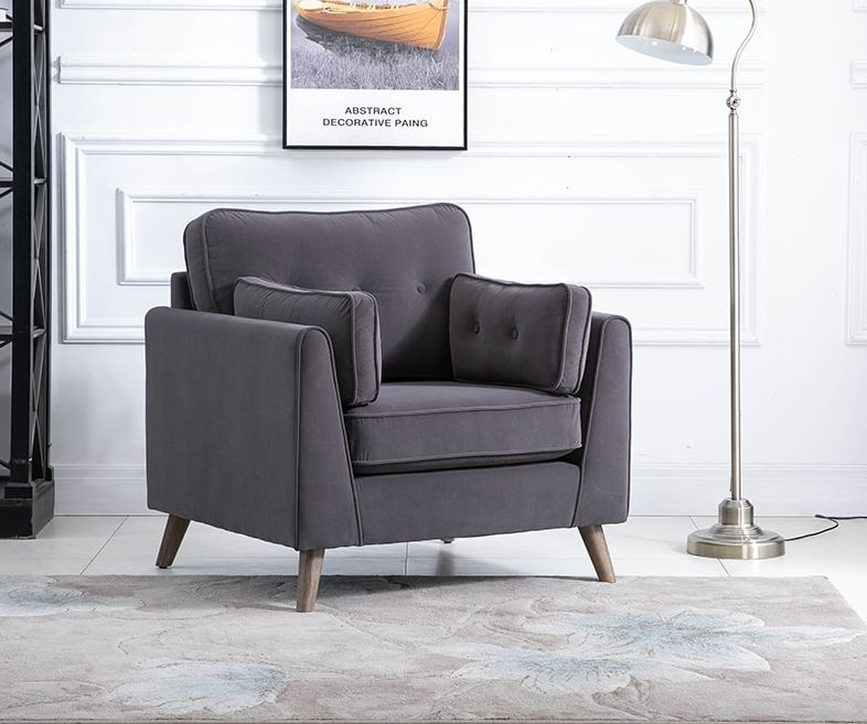 Zurich Elephant Grey Velvet Fabric Armchair