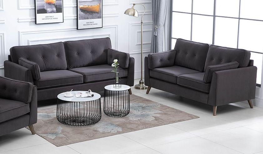 Zurich Elephant Grey Velvet Fabric Sofa Suite