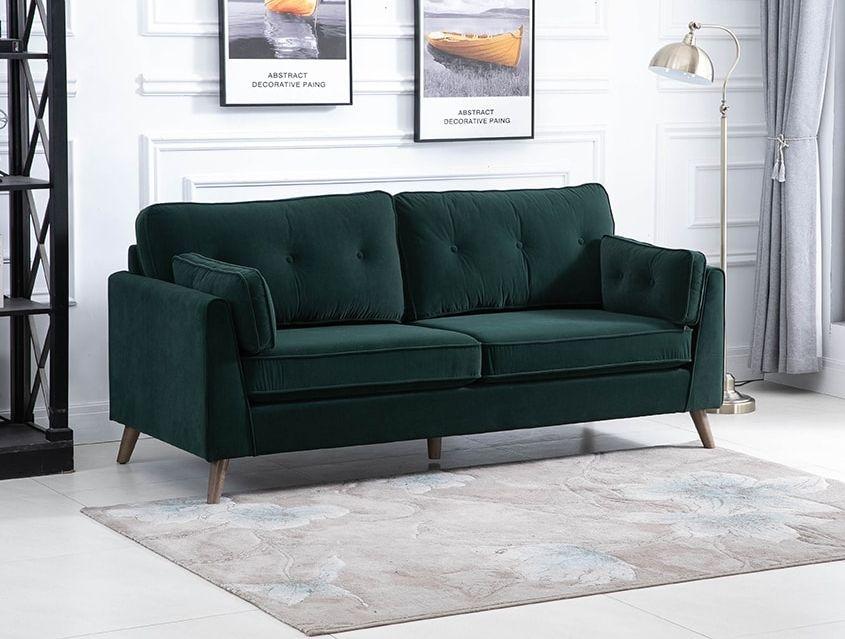 Zurich Green Velvet Fabric 3 Seater Sofa