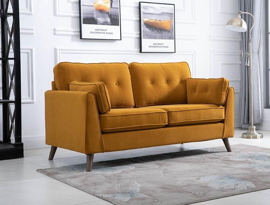 Zurich Ochre Velvet Fabric 2 Seater Sofa