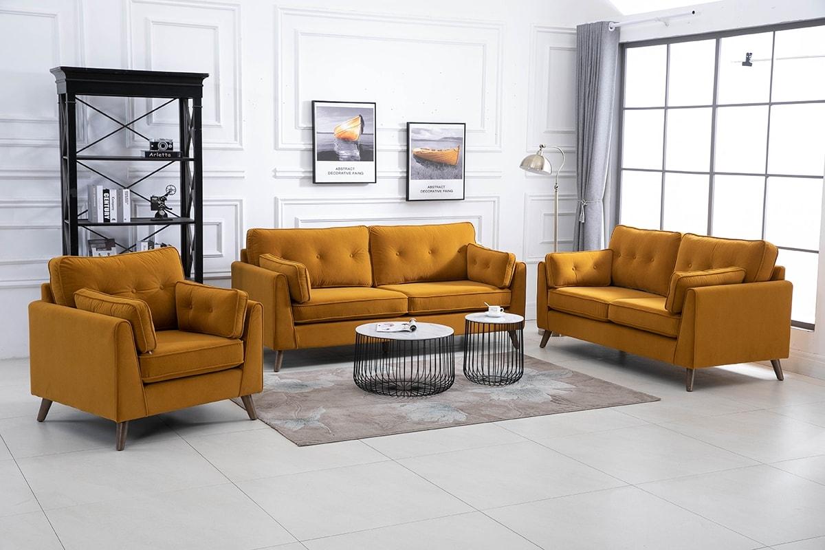 Zurich Ochre Velvet Fabric 3+2+1 Seater Sofa Suite