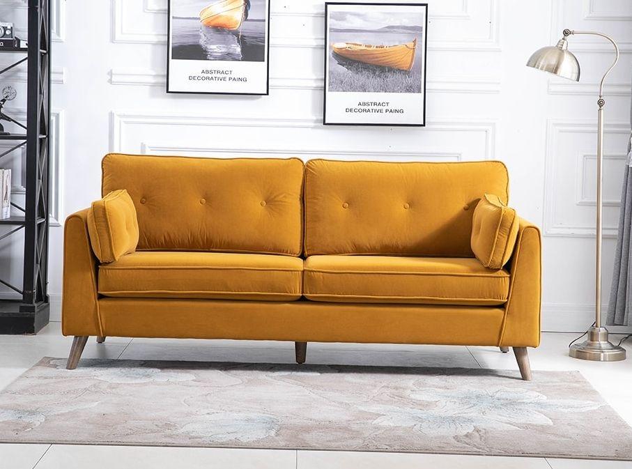 Zurich Ochre Velvet Fabric 3 Seater Sofa