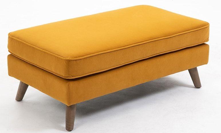 Zurich Ochre Velvet Fabric Footstool