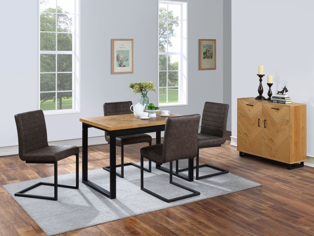 Panama Oak Dining Table and 4 Brown Chairs