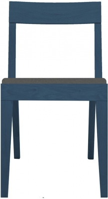 Cubo Blue Dining Chair with Dark Grey Upholstered Seat Pad