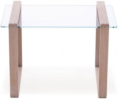 Ponte Oak with Glass Top Small Side Table