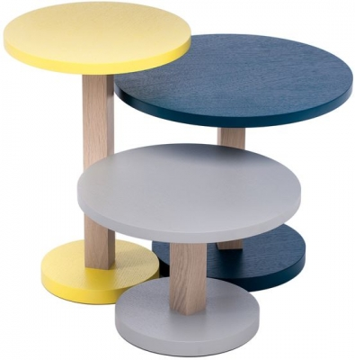 Primo Oak Tables Yellow, Petrol Blue and Stone Grey (Set of 3)