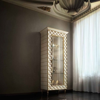 Arredoclassic Adora Sipario Italian Cream 1 Glass Door Cabinet