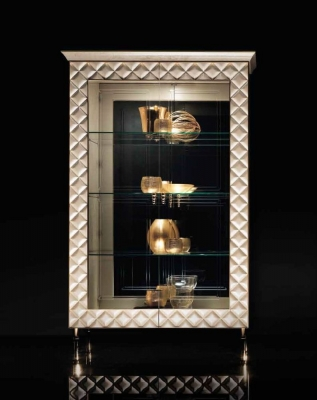 Arredoclassic Adora Sipario Italian Cream 2 Glass Door Cabinet