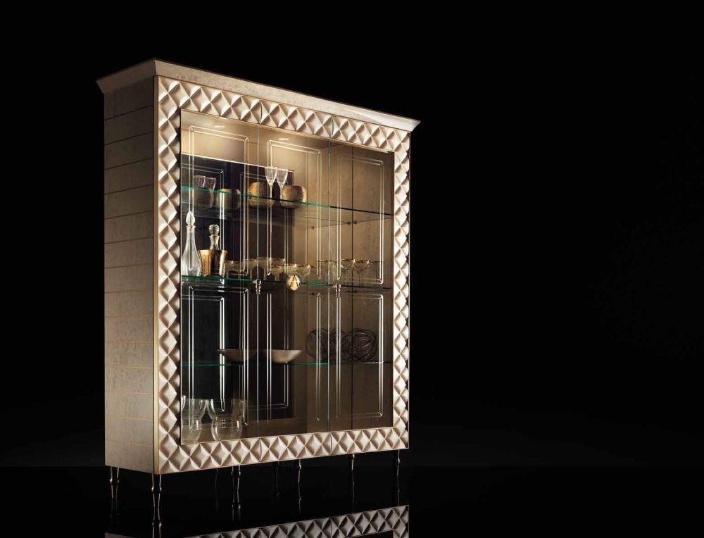 Arredoclassic Adora Sipario Italian Cream 3 Glass Door Cabinet
