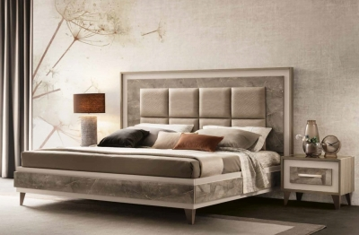 Arredoclassic Ambra Italian Bed with Upholstered Headboard
