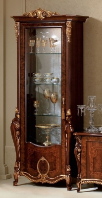 Arredoclassic Donatello Brown Italian 1 Glass Door Display Cabinet