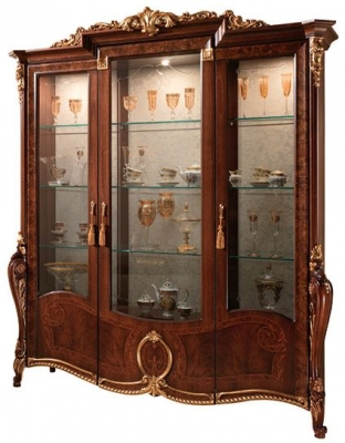 Arredoclassic Donatello Brown Italian 3 Glass Door Display Cabinet