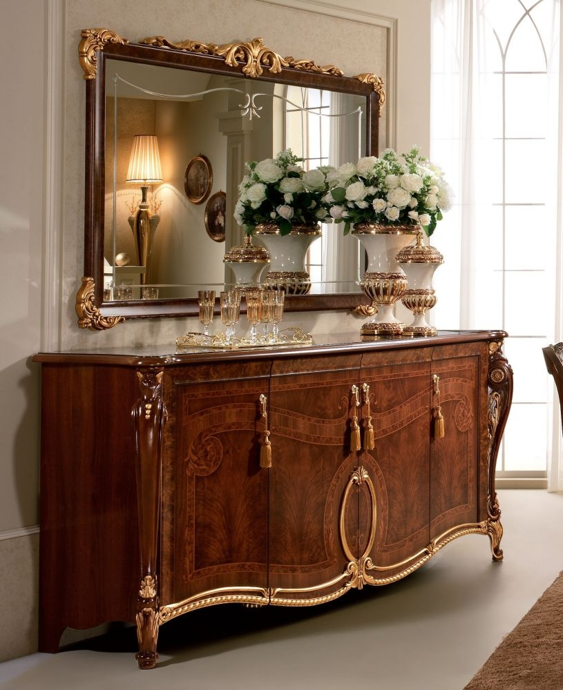 Arredoclassic Donatello Brown Italian 4 Door Wide Sideboard with Large Mirror