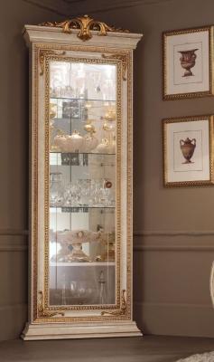 Arredoclassic Leonardo Golden Italian 1 Glass Door Corner Display Cabinet