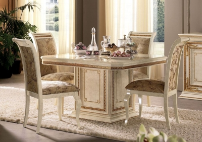 Arredoclassic Leonardo Golden Italian 120cm-160cm Square Extending Dining Table