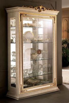 Arredoclassic Leonardo Golden Italian 2 Glass Door Display Cabinet