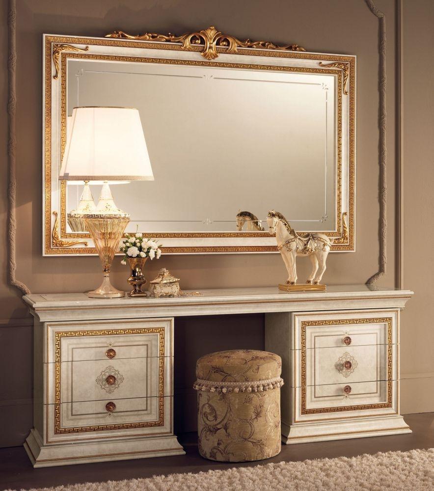 Arredoclassic Leonardo Golden Italian Dressing Set with Large Mirror and Pouf