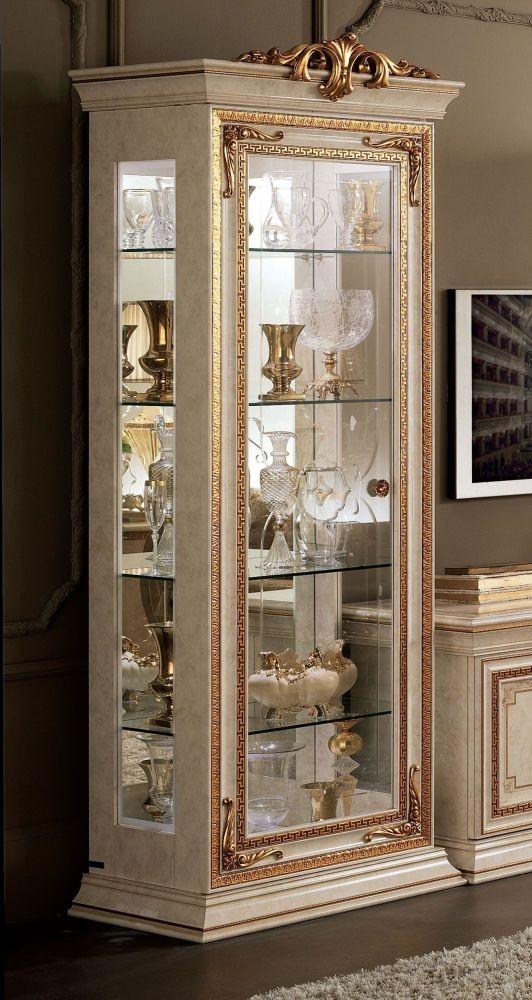 Arredoclassic Leonardo Golden Italian 1 Door Glass Display Cabinet