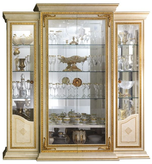 Arredoclassic Leonardo Golden Italian 4 Glass Door Display Cabinet