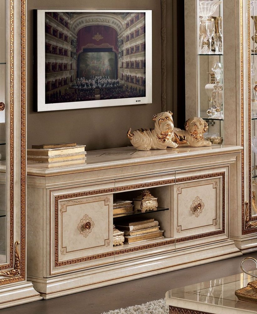 Arredoclassic Leonardo Golden Italian TV Cabinet - 2 Door 1 Shelf
