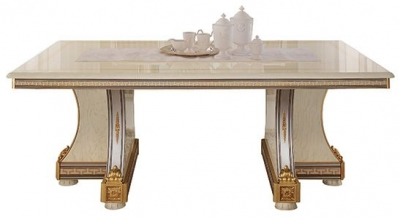 Arredoclassic Liberty Ivory with Gold Italian 200cm-300cm Rectangular Extending Dining Table