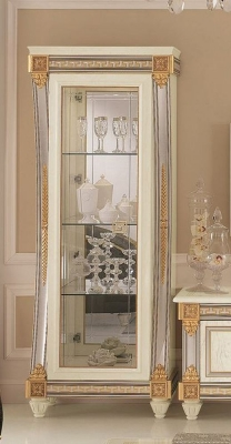 Arredoclassic Liberty Ivory with Gold Italian 1 Glass Door Display Cabinet