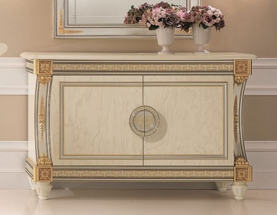 Arredoclassic Liberty Ivory with Gold Italian 2 Door Medium Sideboard