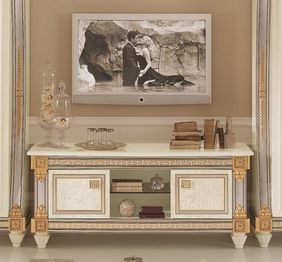 Arredoclassic Liberty Ivory with Gold Italian 2 Door TV Cabinet