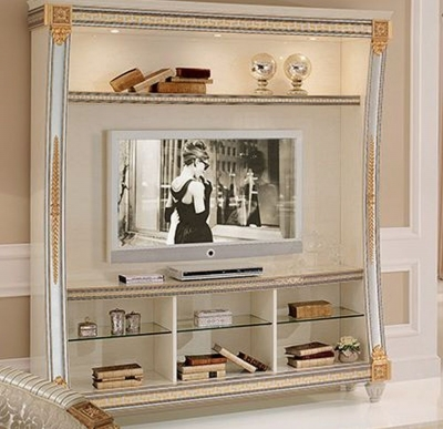 Arredoclassic Liberty Ivory with Gold Italian Wall Unit Composition