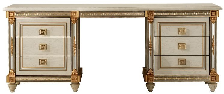 Arredoclassic Liberty Ivory with Gold Italian 6 Drawer Dressing Table