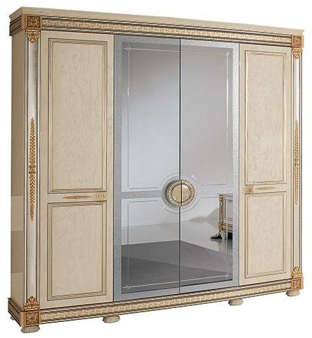 Arredoclassic Liberty Ivory with Gold Italian 4 Door Wardrobe