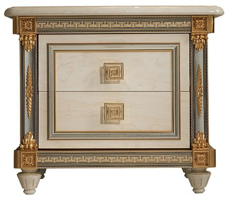Arredoclassic Liberty Ivory with Gold Italian 2 Drawer Bedside Cabinet