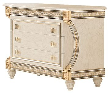 Arredoclassic Liberty Ivory with Gold Italian 3 Drawer Dresser
