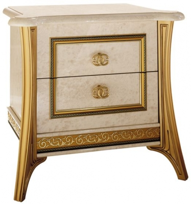 Arredoclassic Melodia Golden Italian 2 Drawer Bedside Cabinet