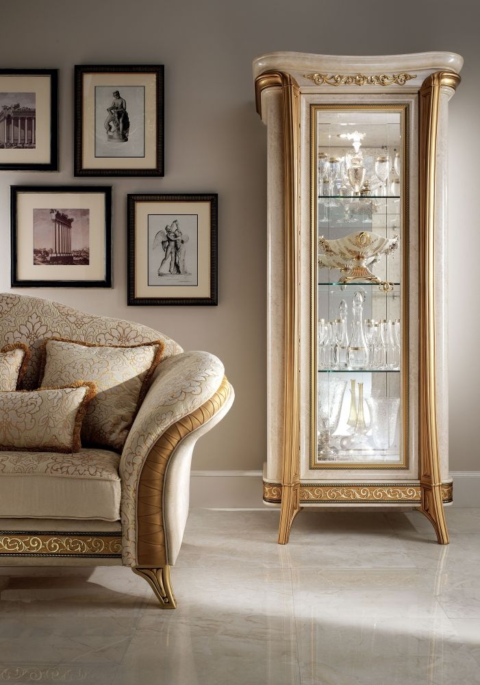 Arredoclassic Melodia Golden Italian 1 Glass Door Display Cabinet