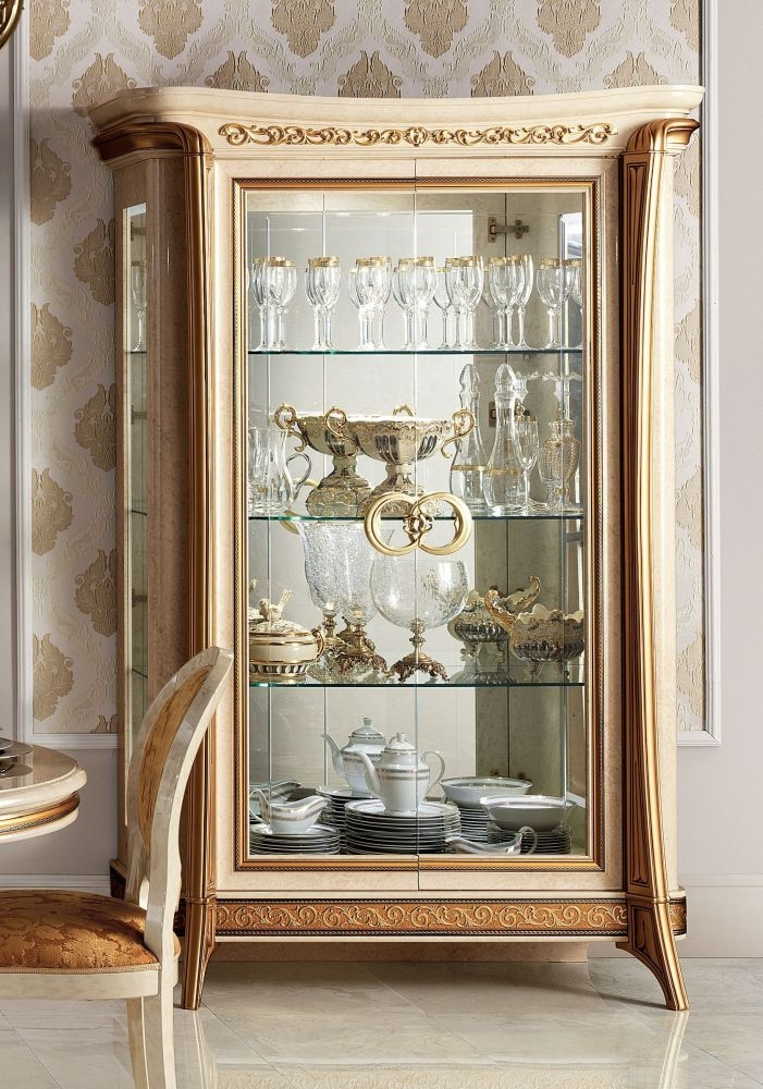 Arredoclassic Melodia Golden Italian 2 Glass Door Display Cabinet