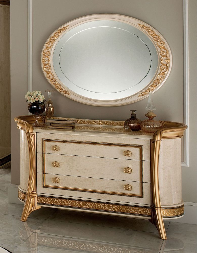 Arredoclassic Melodia Golden Italian Dresser with Small Oval Mirror
