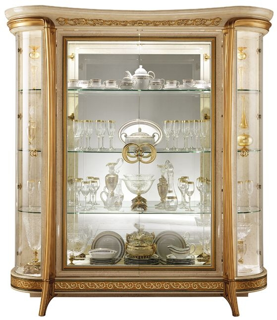 Arredoclassic Melodia Golden Italian 4 Glass Door Display Cabinet