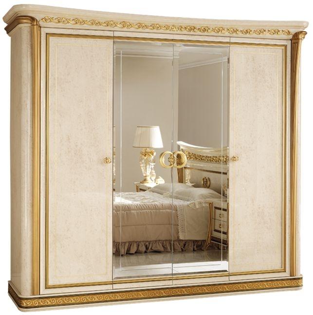 Arredoclassic Melodia Golden Italian 4 Door 2 Mirror Wardrobe