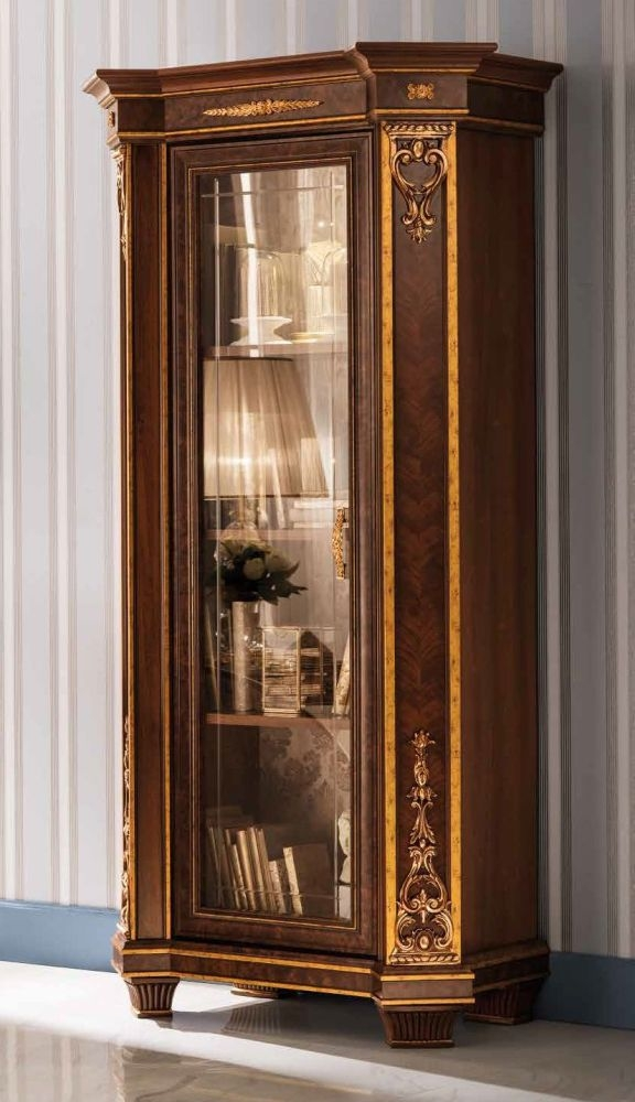 Arredoclassic Modigliani Mahogany Italian 1 Glass Door Display Cabinet