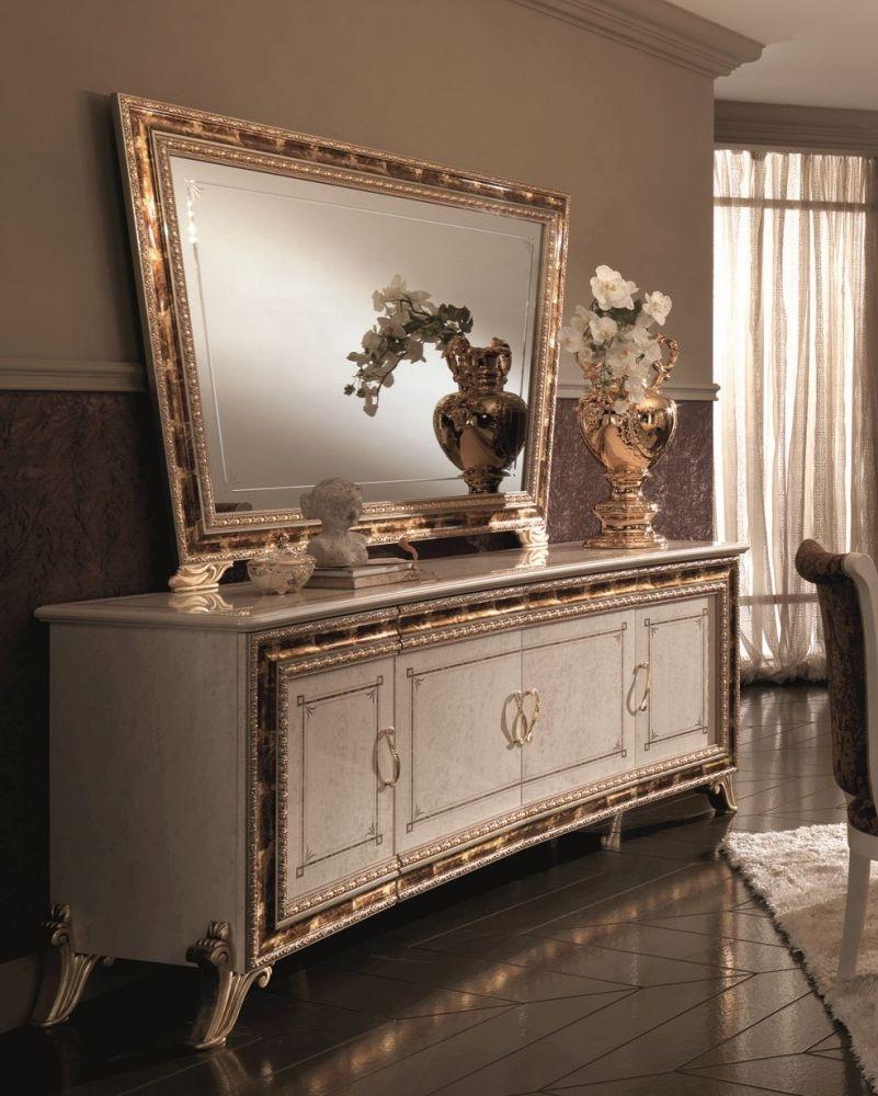Arredoclassic Raffaello Gold Italian 4 Door Sideboard with Large Mirror