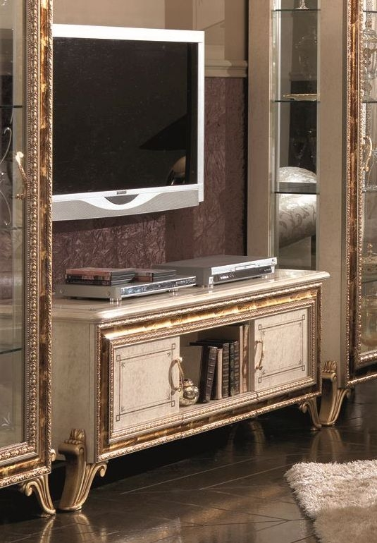 Arredoclassic Raffaello Gold Italian TV Cabinet - 2 Door