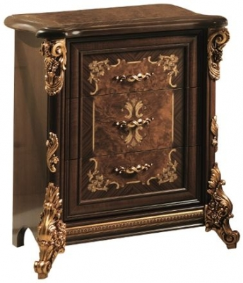Arredoclassic Sinfonia Walnut Italian 3 Drawer Bedside Cabinet