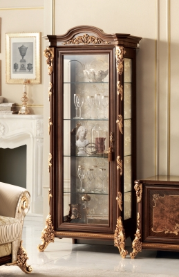 Arredoclassic Sinfonia Walnut Italian 1 Glass Door Display Cabinet